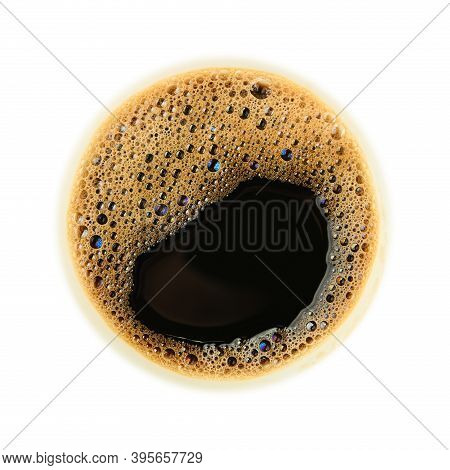 Close Up One Instant Black Coffee Cup Top With Froth Isolated On White Background, Top View, Directl