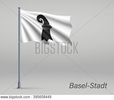 Waving Flag Of Basel-stadt - Canton Of Switzerland On Flagpole.