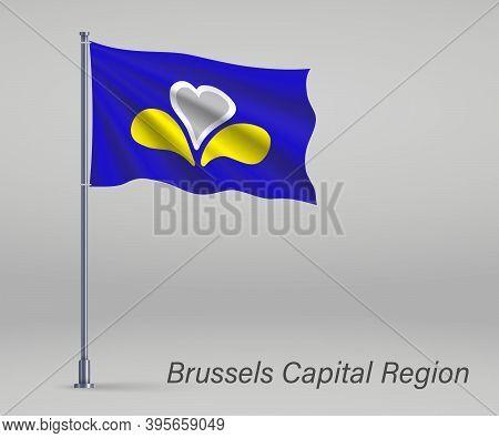 Waving Flag Of Brussels Capital Region Province Of Belgium On Fl