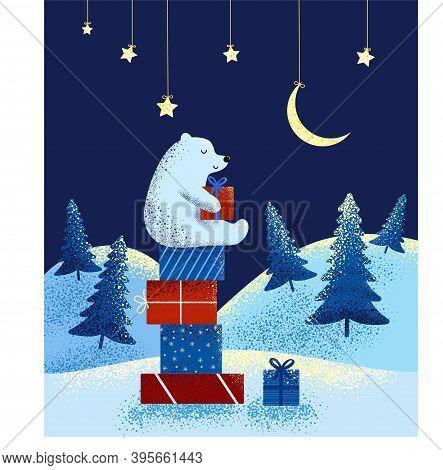 Vector Illustration Of Polar New Year Bear. Polar Bear On Christmas Gifts Against The Background Of