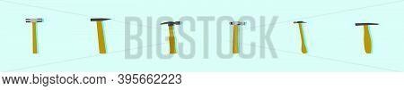 Set Of Sledge Hammer. Cartoon Icon Design Template With Various Models. Modern Vector Illustration I