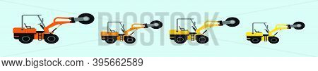 Set Of Drum Steamroller Cartoon Icon Design Template With Various Models. Modern Vector Illustration
