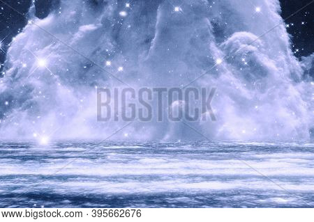 Blue dreamy galactic cloud background image