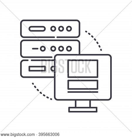 Dedicated Server Icon, Linear Isolated Illustration, Thin Line Vector, Web Design Sign, Outline Conc