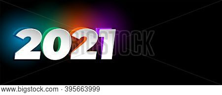Colorful Embossed New Year 2021 On Black Background
