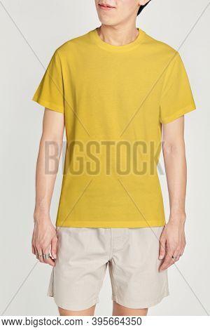 Man in yellow tee mockup