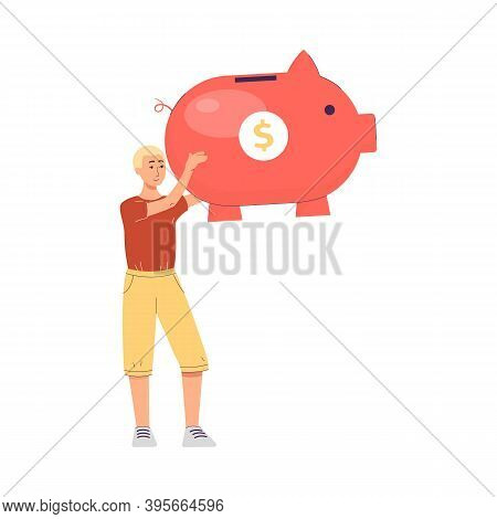 Man With Huge Piggy Bank For Saving And Economy Money A Vector Illustration