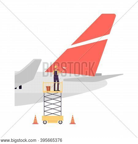 Maintenance And Repair Of Aircraft By Maintenance Staff A Vector Illustration