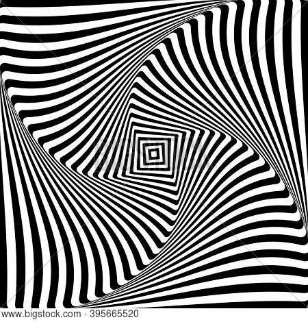 Abstract op art graphic design. Illusion of torsion rotation movement.
