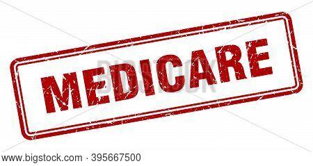 Medicare Stamp. Square Grunge Sign On White Background