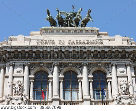 Rome, Rm, Italy - August 16, 2020: Palace Of Justice  Seat Of The Supreme Court Of Cassation And The