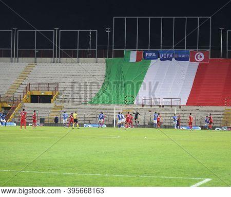 Vicenza, Vi,  Italy - October 15, 2018: Football Match Italy Vs Tunisia Under 21 At Menti Stadium An