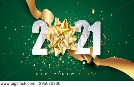 2021 Green Happy New Year Vector Background With Golden Gift Ribbon, Confetti, White Numbers. Christ
