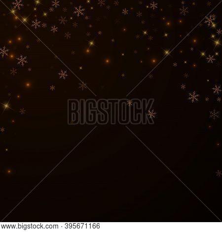 Sparse Starry Snow Christmas Overlay. Christmas Lights, Bokeh, Snow Flakes, Stars On Night Backgroun