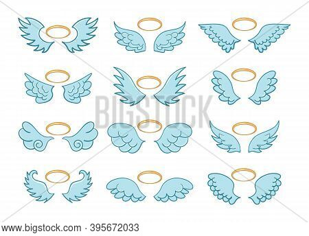 Angel Winged Glory Halo Cute Cartoon Drawings Isolated On White Background. Flying Angel Wings With
