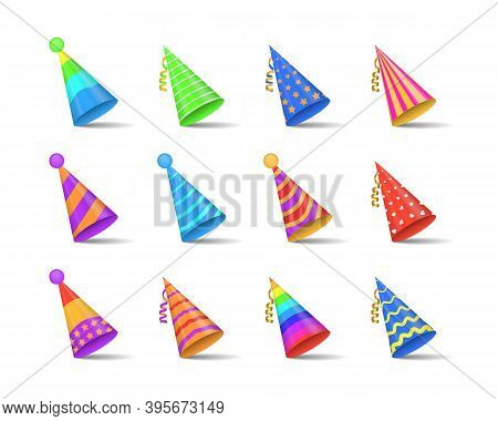 Party Shiny Caps Isolated On White Background. Collection Of Festive Hats For Parties And Holidays C
