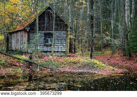 Old Wooden House In A Colorful Autumn Forest Near The Lake
