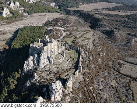 Aerial View Of The Castle Of Loarre In Huesca Spain