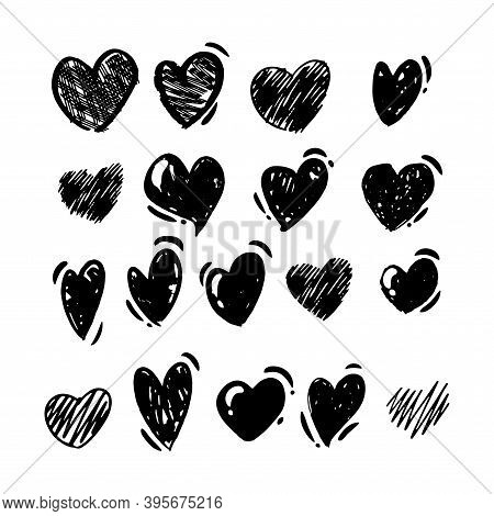 Doodle Style Hand Drawing. Black And White Drawings Of Hearts. Isolated Vector Illustration