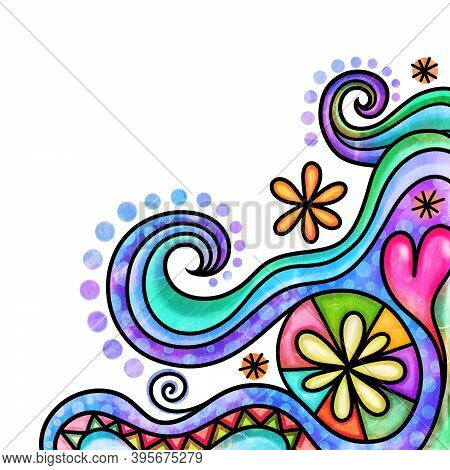 A Hand Drawn And Digitally Painted Decorative Border That Fits In The Corner Of Your Page And Can Be