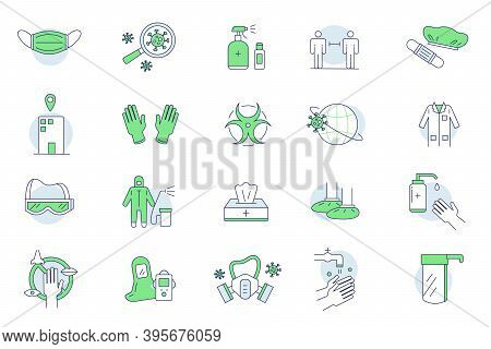 Protective Clothing Doodle Set. Collection Of Medical Ppe Icons Isolated In Line. Equipment For Coro