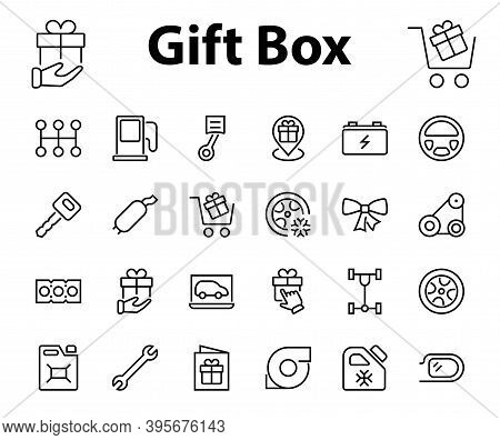 Auto Parts Set Of Icons Related Vector Line Icons. Contains Icons Such As Parts, Oil, Diagnostics, T