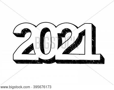 2021 Year Hand-drawn Icon. Vector Illustration Of The 2021 Number In Retro Style Big Letters. Hand-d