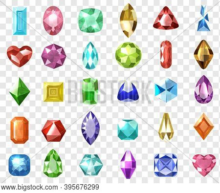 Realisitc Gemstones Set. Collection Of 3d Graphic Colorful Crystal Jewel Precious Luxury Gems Diamon