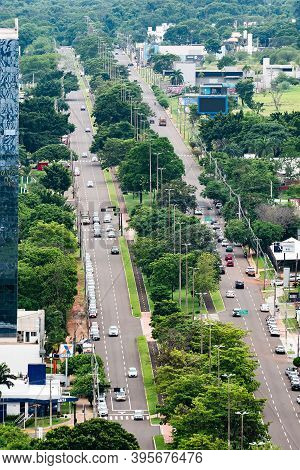 Campo Grande - Ms, Brazil - November 12, 2020: Aerial View Of The Highs Of Afonso Pena Avenue. Large