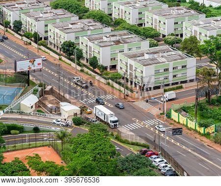 Campo Grande - Ms, Brazil - November 12, 2020: Aerial View Of The Ceara Avenue Corner With The 15 De