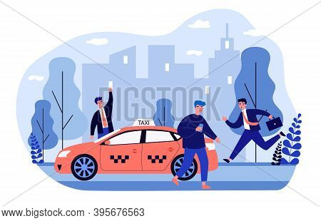 Businesspeople Struggling For Taxi. Running To Cab, Waving, Using App On Cell Phone Flat Vector Illu