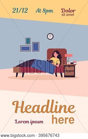 Happy Woman Reading Book In Bed. Female Student Studying Library Textbook Before Going To Sleep. Vec