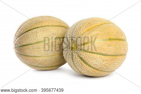 Tasty Fresh Ripe Melons Isolated On White