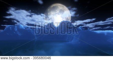 Ice Berg In Night Full Moon 3D Render