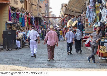 Cairo, Egypt - September 16, 2018: Walking By Khan El-khalili, The Major Souk In The Historic Center