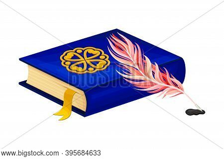Closed Old Book In Hard Cover With Quill And Bookmark Vector Illustration