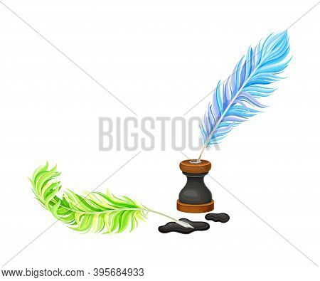 Colorful Quill Pens And Inkstand With Ink Stains Vector Illustration