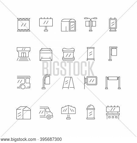 Set Line Icons Of Outdoor Advertising Isolated On White. Billboard, Transport Advertisement, Bus Sto