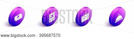 Set Isometric Airline Ticket, Airline Ticket, Suitcase And Hotel Service Bell Icon. Vector