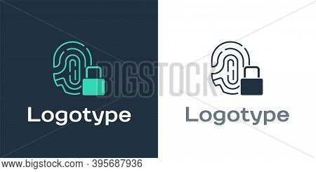 Logotype Fingerprint With Lock Icon Isolated On White Background. Id App Icon. Identification Sign.