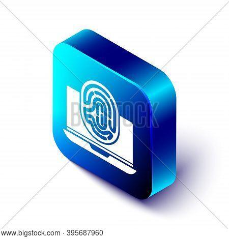 Isometric Laptop With Fingerprint Icon Isolated On White Background. Id App Icon. Identification Sig