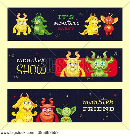 Monster Show Banners Design For Event. Modern Promotional Flyer With Funny Beast Characters. Celebra