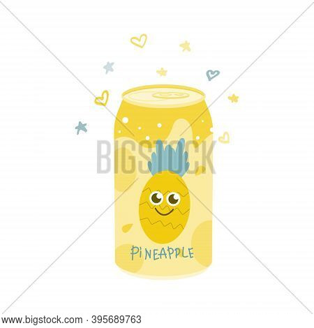 Non-alcoholic Pineapple Drink In An Aluminum Can. Cold Carbonated Juice, Sweet Water. Vector Illustr