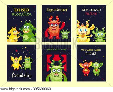 Creative Leaflet Designs With Friendly Monsters. Variety Of Funny Mascots On Dark Background. Celebr