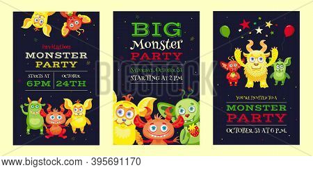 Monster Party Invitation Designs With Funny Beasts And Mascots. Bright Colorful Invitations For Chil