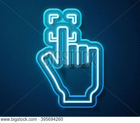 Glowing Neon Line Fingerprint Icon Isolated On Blue Background. Id App Icon. Identification Sign. To