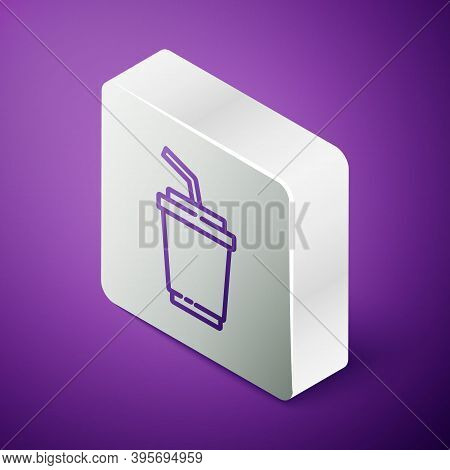 Isometric Line Paper Glass With Drinking Straw And Water Icon Isolated On Purple Background. Soda Dr