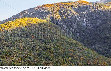 Chorrero De La Virgen Waterfall At Natural Reserve Garganta De Los Infiernos, Extremadura, Spain