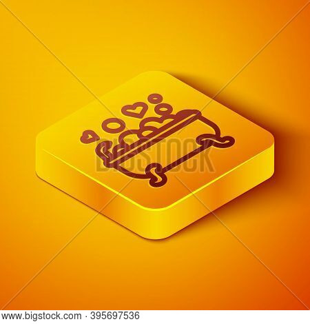 Isometric Line Romantic In Bathroom Icon Isolated On Orange Background. Concept Romantic Date. Roman