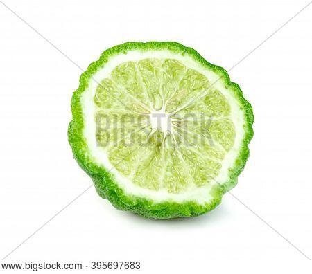 Fresh Bergamot Fruit Half Isolated On White Background